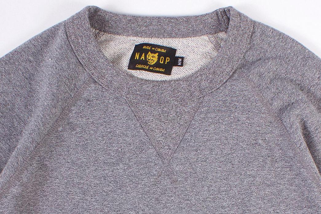 Season-Your-Wardrobe-With-North-American-Quality-Purveyor's-Salt-&-Pepper-Rundle-Raglan-Crewneck-front-collar