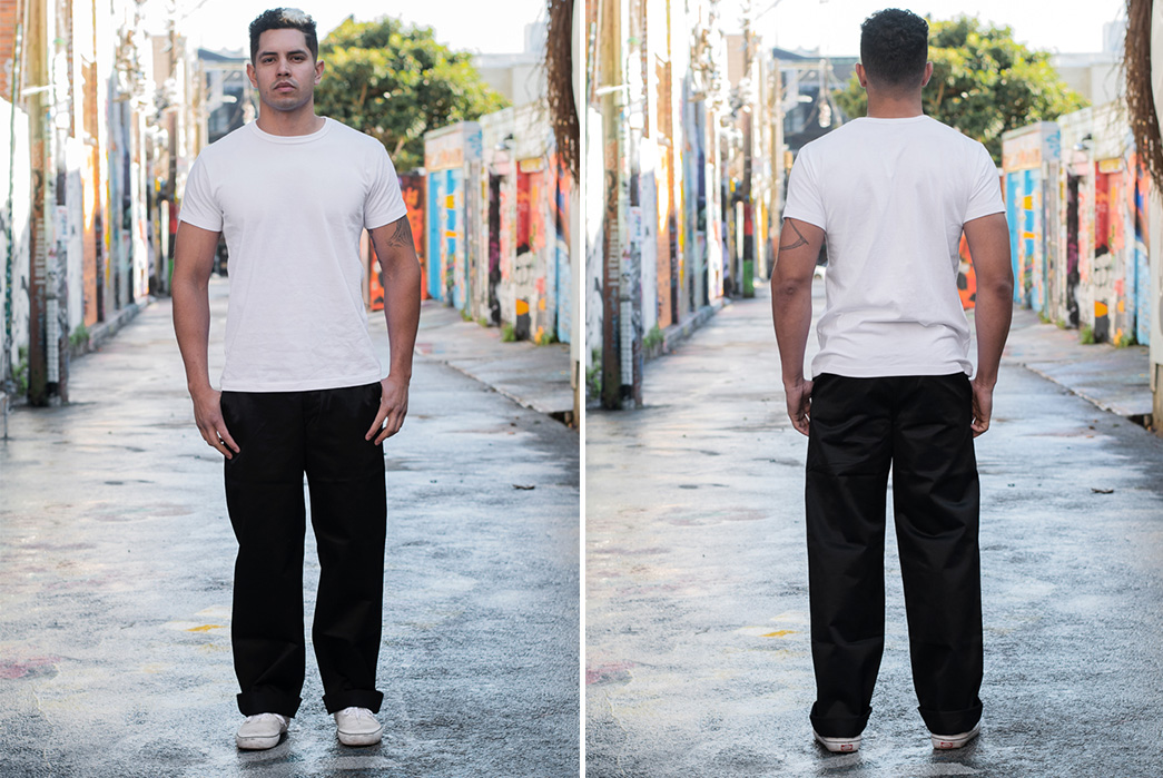 Buzz-Rickson's-Channels-William-Gibson's-Dark-Science-Fiction-With-'Very-Black'-Chinos-model-front-back