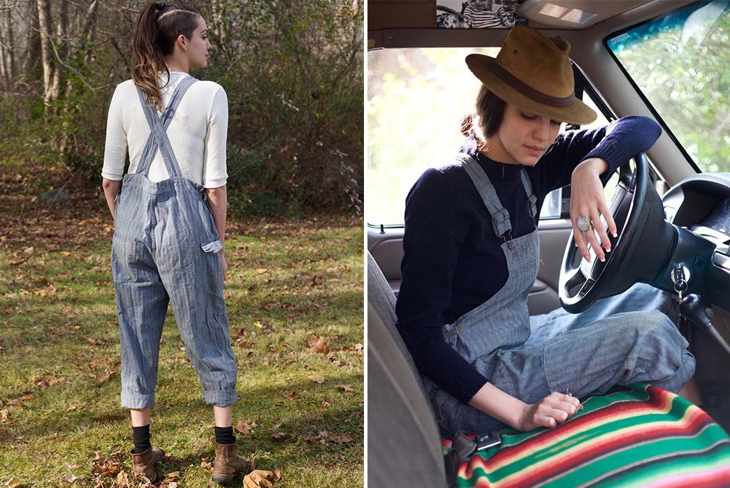 Gamine-Workwear's-Bobby-Bibs-Honor-Legendary-East-Coast-Vintage-Aficionado-Bobby-Garnett-model-back-an-in-car