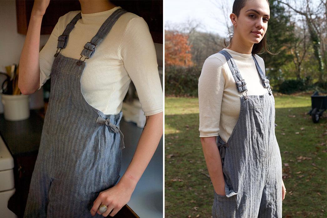 Gamine-Workwear's-Bobby-Bibs-Honor-Legendary-East-Coast-Vintage-Aficionado-Bobby-Garnett-model-side