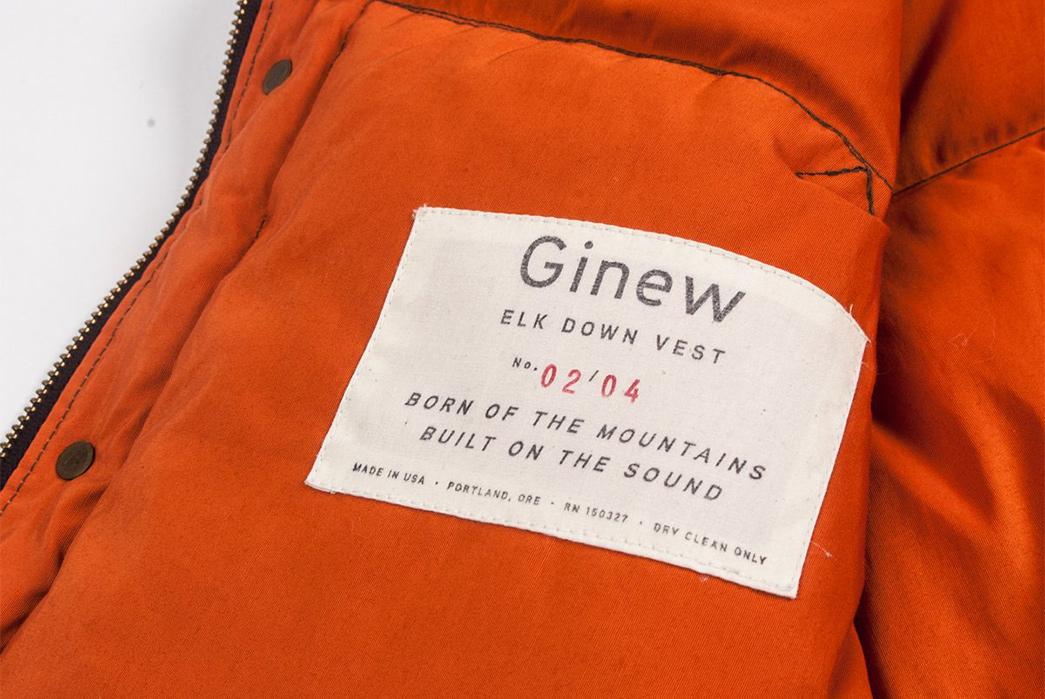 Ginew Elk Down Vest brand