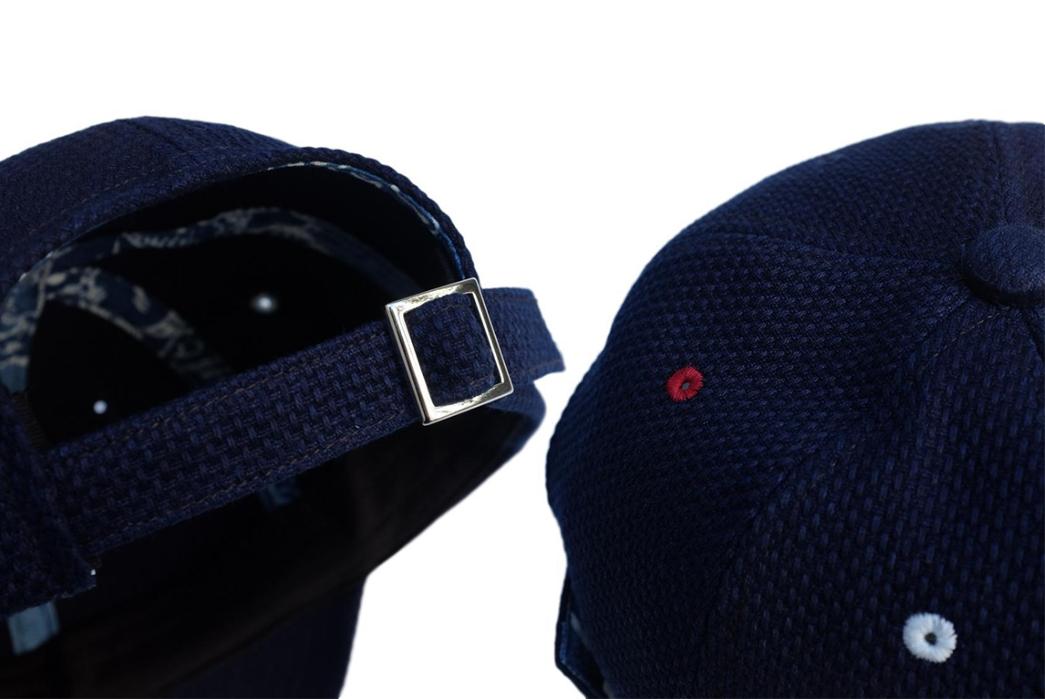 Okayama-Denim-x-Studio-d'Artisan-Indigo-Sashiko-Selvedge-6-Panel-Baseball-Cap-detailed