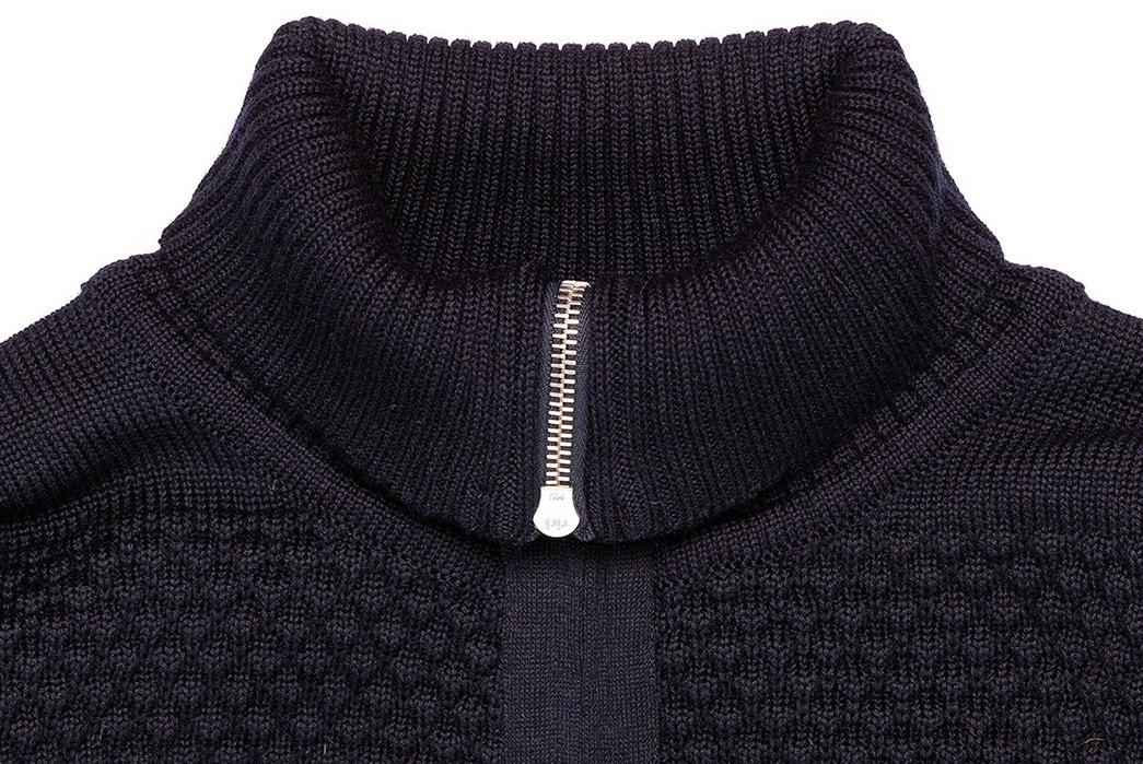 S.N.S.-Herning-Reels-in-Virgin-Wool-For-Its-Fisherman-Full-Zip-blue-front-collar