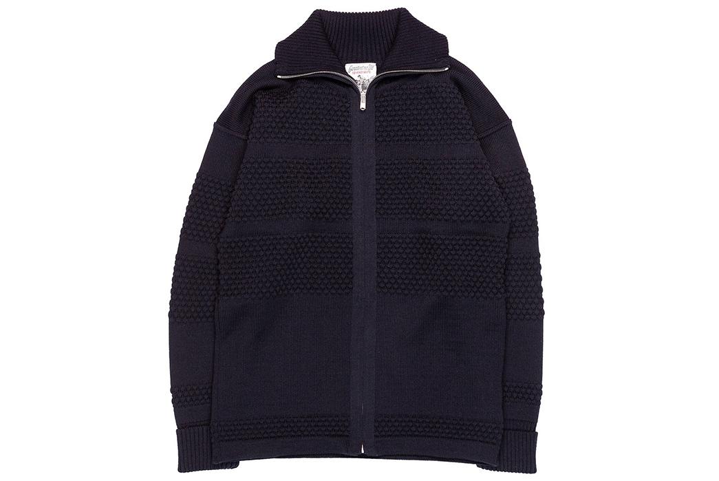 S.N.S.-Herning-Reels-in-Virgin-Wool-For-Its-Fisherman-Full-Zip-front-blue