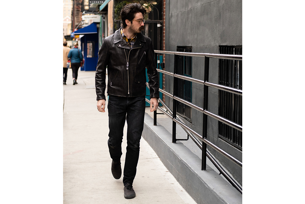 3sixteen-Collaborate-With-Schott-To-Pull-Up-a-Duo-of-Chromexcel-Horsehide-Jackets-model-front-walking