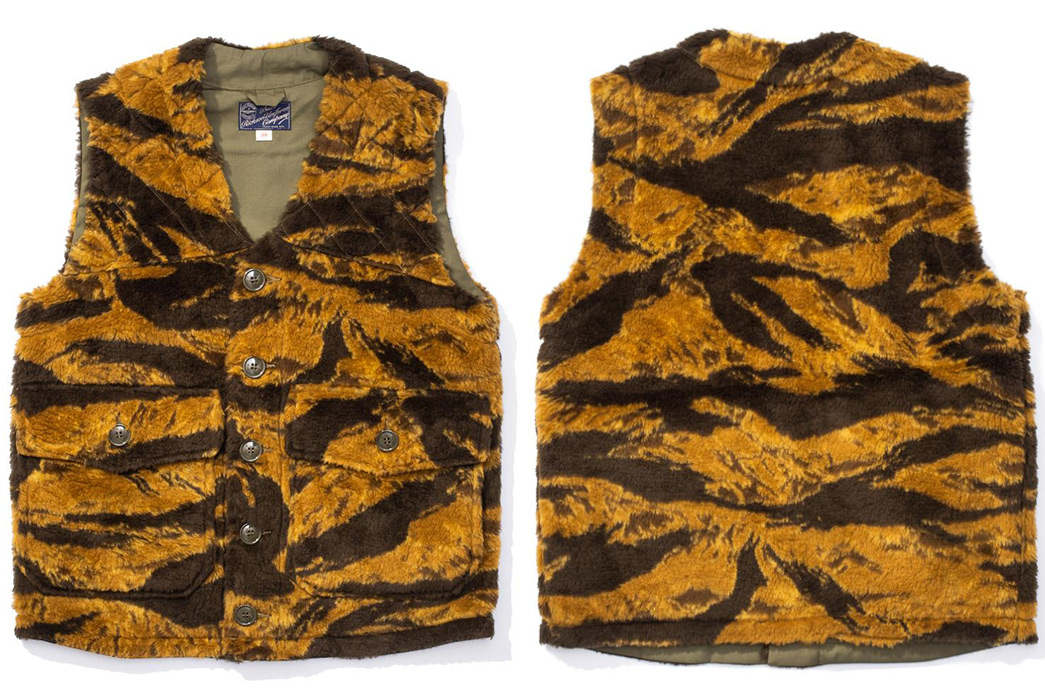 Buzz-Rickson's-Is-On-The-Prowl-With-Its-Gold-Tiger-Boa-Vest-front-back