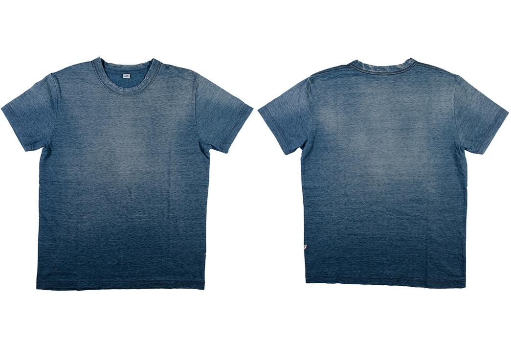 Pure-Blue-Japan's-Yarn-Dyed-Indigo-T-Shirt-Comes-Pre-Sunburned-front-back