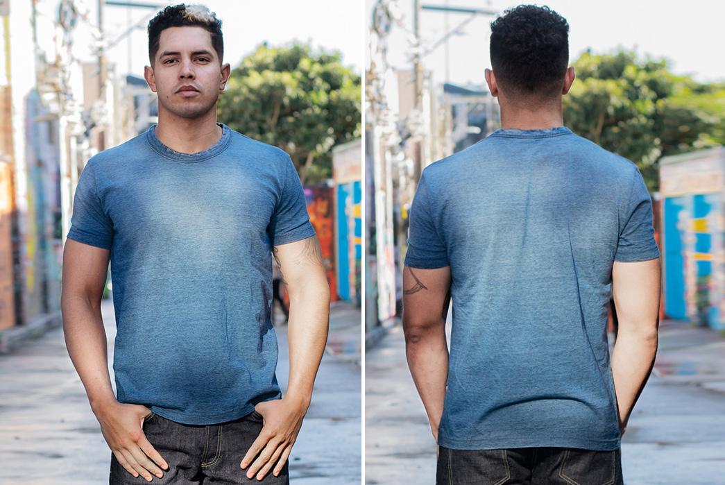 Pure-Blue-Japan's-Yarn-Dyed-Indigo-T-Shirt-Comes-Pre-Sunburned-model-front-back