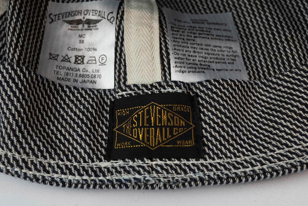 Stevenson-Overall-Co.-Cranks-Up-Its-Mechanic-Cap-In-Indigo-Pinstripe-Twill-inside-brand