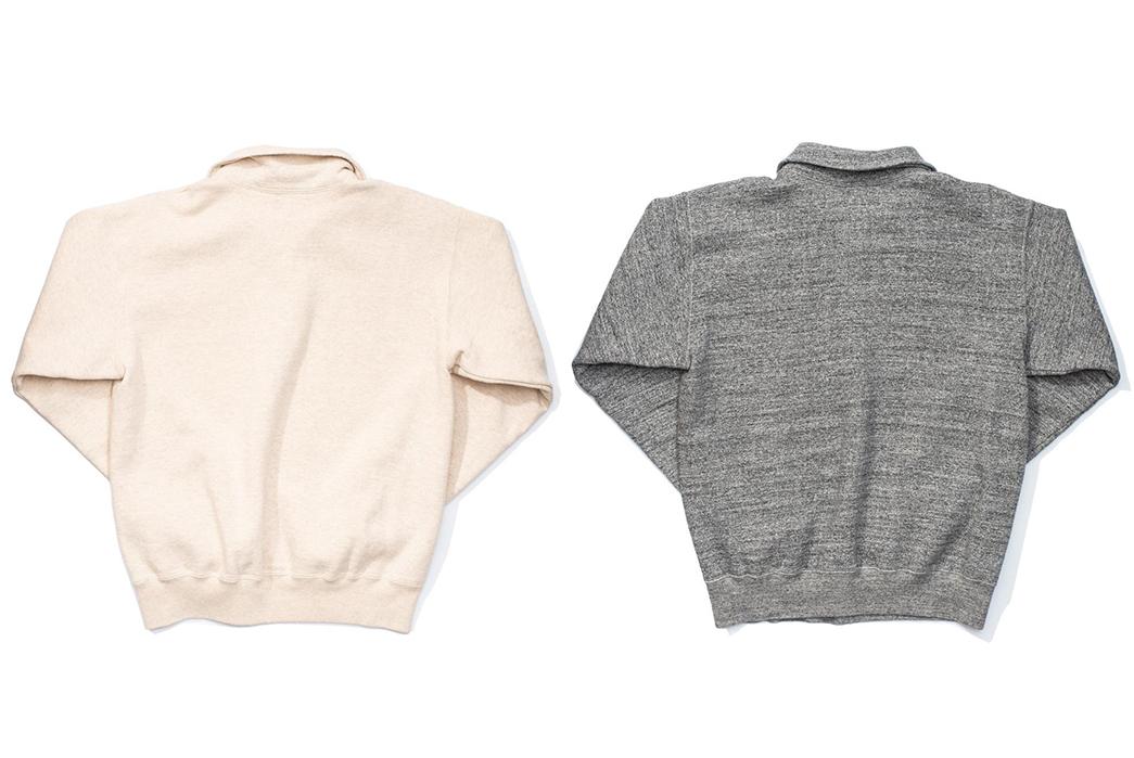 Stevenson-Overall-Co.-ZS-HG-Half-Zip-Sweatshirts-light-rose-and-grey-back