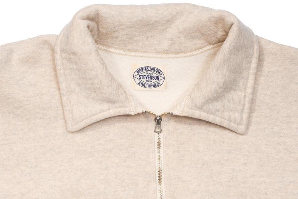 Stevenson-Overall-Co.-ZS-HG-Half-Zip-Sweatshirts-light-rose-front-collar