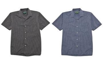 Gitman-Vintage-Bros.-2-Tone-Seersucker-Camp-Shirts-black-and-blue-fronts