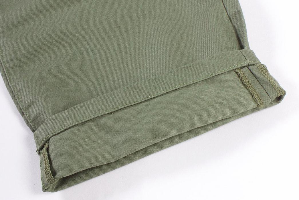 NAQP-Kicks-Back-With-Its-Bankview-Easy-Pant-green-leg-selvedge