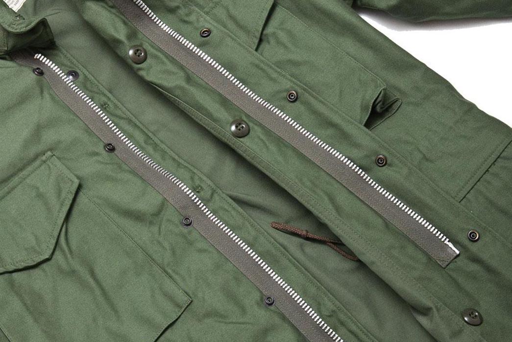 The-Real-McCoy's-M-65-Field-Jacket-'1st-Model'-Olive-MJ17010-front-zipper