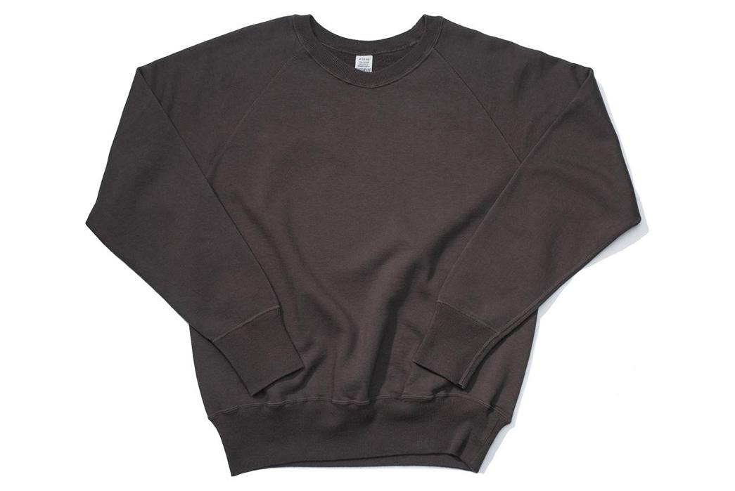 Warehouse-Emulates-70s-Sweatshirts-With-Their-Lot.-461-Crewnecks-front-black-purple