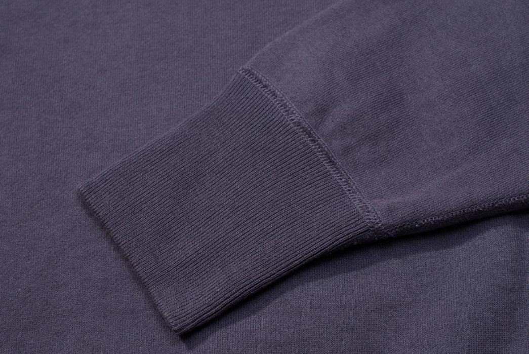 Warehouse-Emulates-70s-Sweatshirts-With-Their-Lot.-461-Crewnecks-front-dark-purple-sleeve