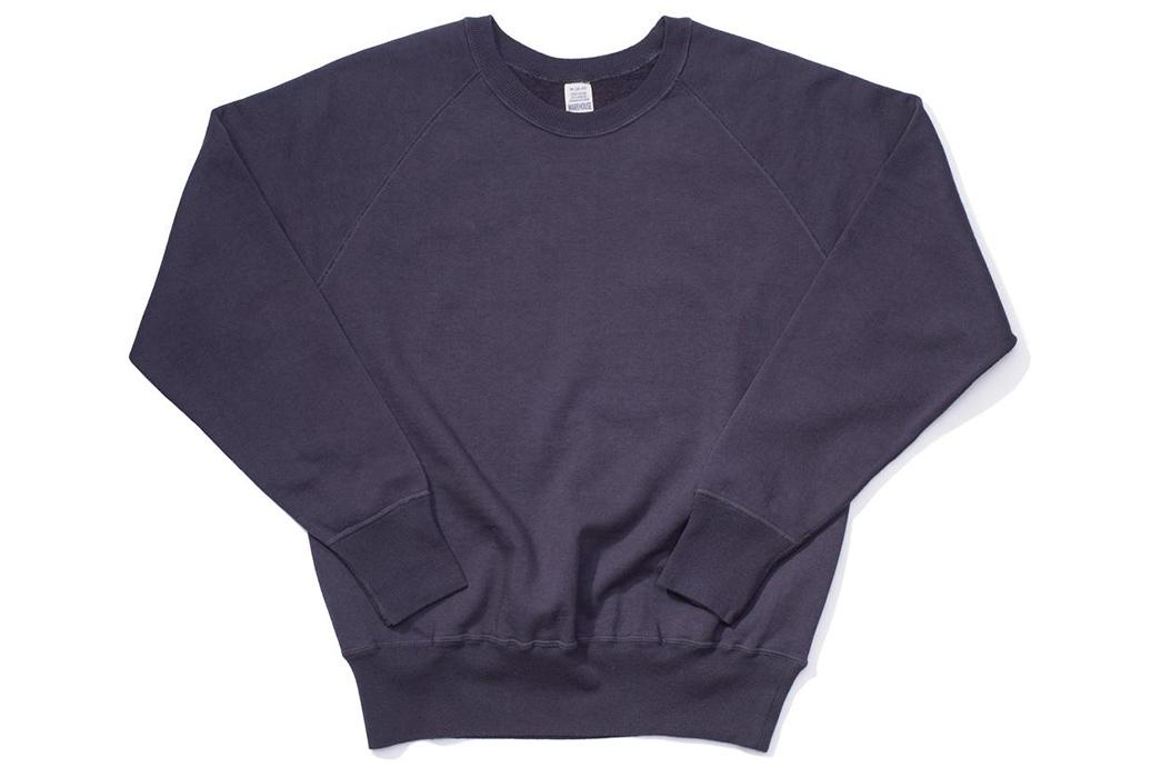 Warehouse-Emulates-70s-Sweatshirts-With-Their-Lot.-461-Crewnecks-front-dark-purple