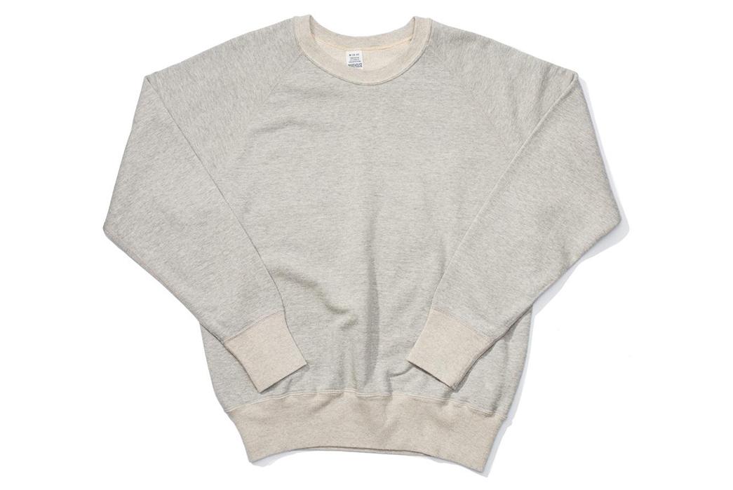 Warehouse-Emulates-70s-Sweatshirts-With-Their-Lot.-461-Crewnecks-front-grey