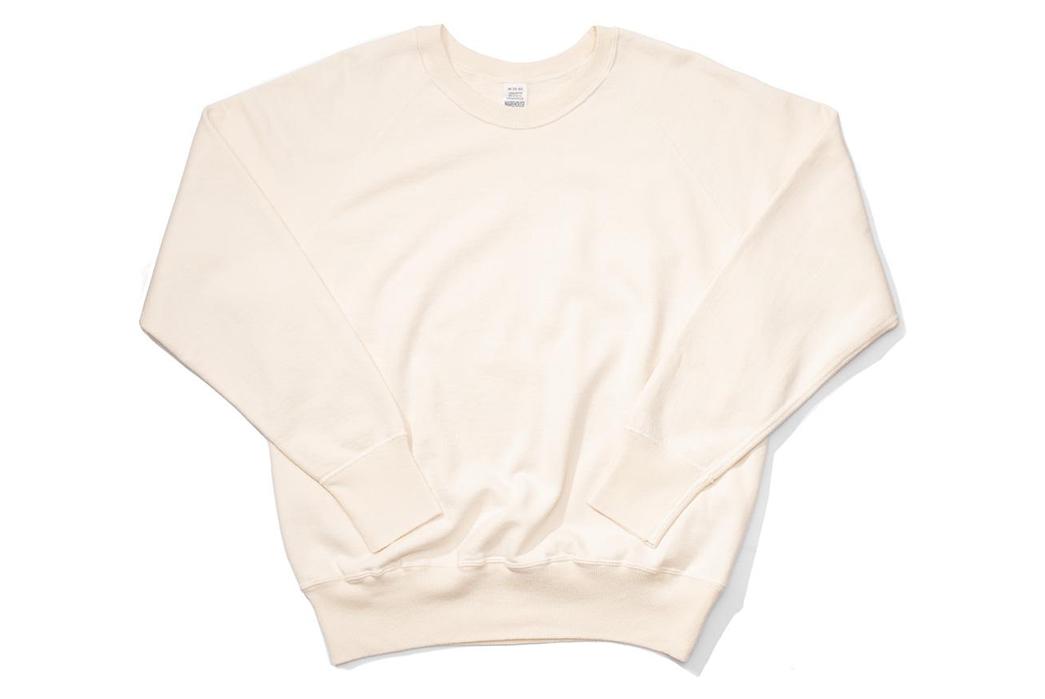 Warehouse-Emulates-70s-Sweatshirts-With-Their-Lot.-461-Crewnecks-front-white