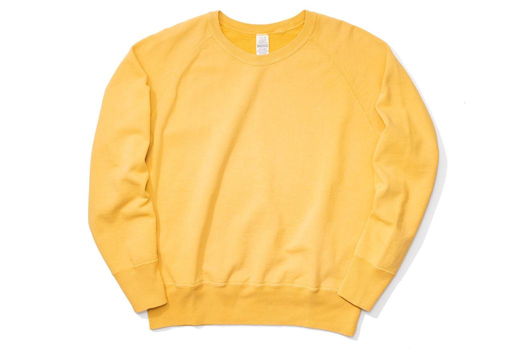Warehouse-Emulates-70s-Sweatshirts-With-Their-Lot.-461-Crewnecks-front-yellow