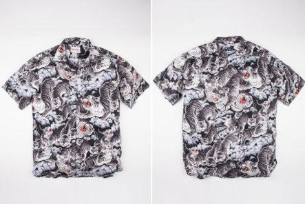 Be-The-Next-tiger-King-in-Freenote-Cloth's-Hawaiian-Black-Tigers-Shirt-front-back