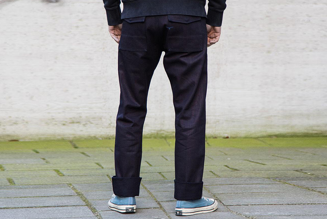 Black-and-Blue-Selvedge-Canvas-Fatigues-Benzak-model-back