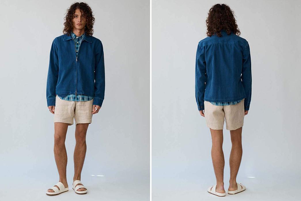 Corridor-NYC-Zips-Up-an-Indigo-Dyed-Duck-Canvas-Jacket-model-front-back