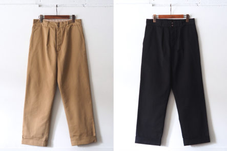 Fujito-Slacks-Off-In-Wide-Legged-Pants-fronts-beige-and-black