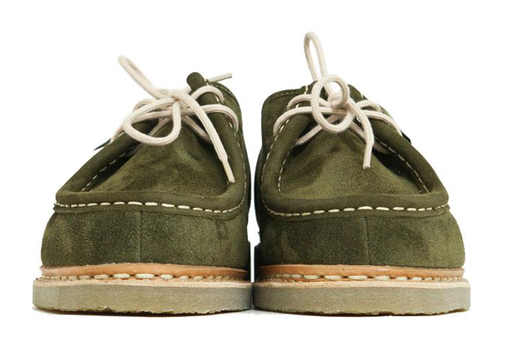 Paraboot-Brings-Its-Michael-Shoe-Down-To-Earth-With-Moss-Green-suede-&-Crep-pair-fronts