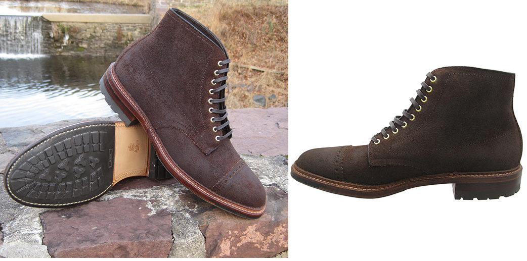 Perforated-Cap-Toe-Boots---Five-Plus-One-2)-Alden-Reverse-Tobacco-Chamois-Cap-Toe-Boot