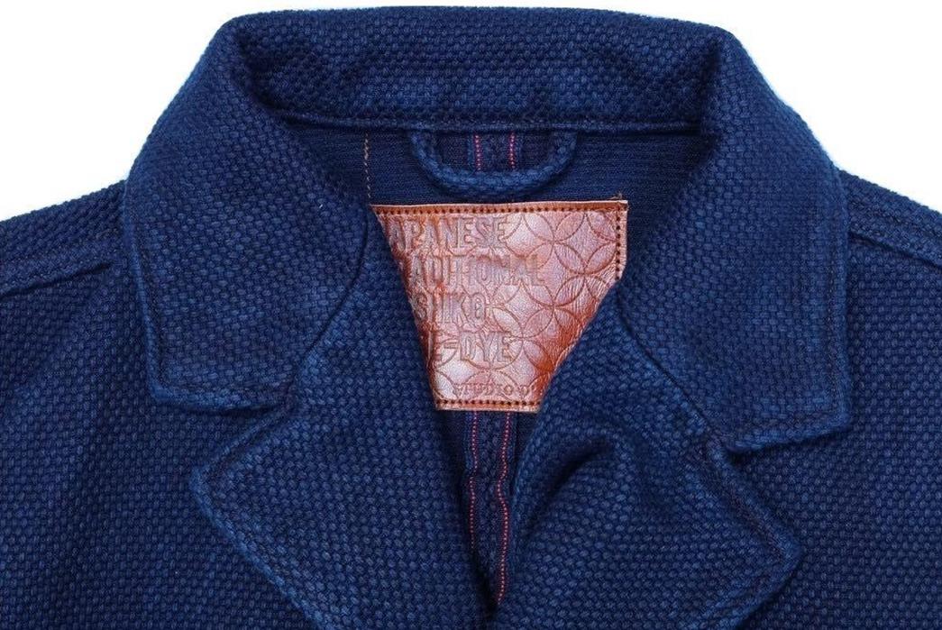 Introduce-The-Office-To-Sashiko-With-Studio-d'Artisan's-Kasezome-Dyed-Sashiko-Tailored-Jacket-front-collar