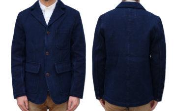 Introduce-The-Office-To-Sashiko-With-Studio-d'Artisan's-Kasezome-Dyed-Sashiko-Tailored-Jacket-model-front-back