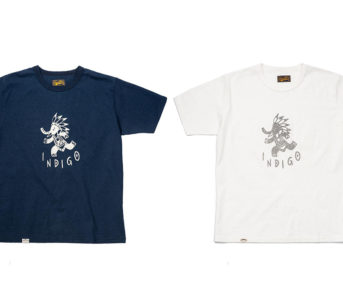 Japan-Blue-Celebrates-Indigo-&-Cote-d'Ivoire-With-a-Duo-Of-Graphic-Tees-fronts-blue-and-white