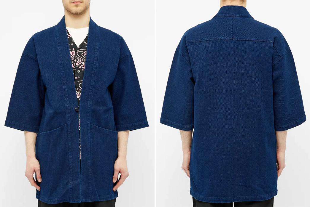 Personalised Blue Experiment Japanese Plant Dyed Handmade Unisex Japanese Kimono Noragi Patchwork Long Tie Font Jacket