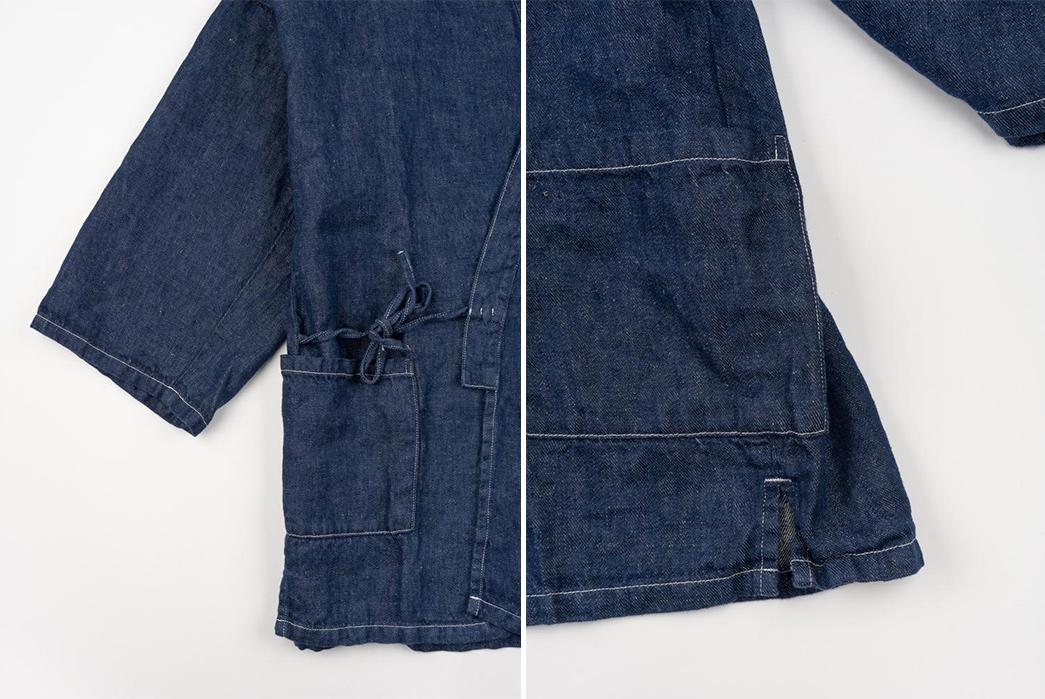 oRslow's-Takumi-Jacket-Ties-Up-Linen-Denim-detailed
