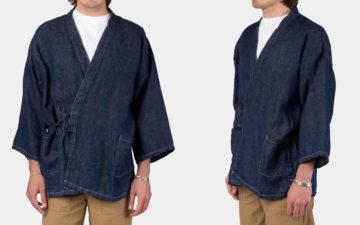oRslow's-Takumi-Jacket-Ties-Up-Linen-Denim-model-front-side