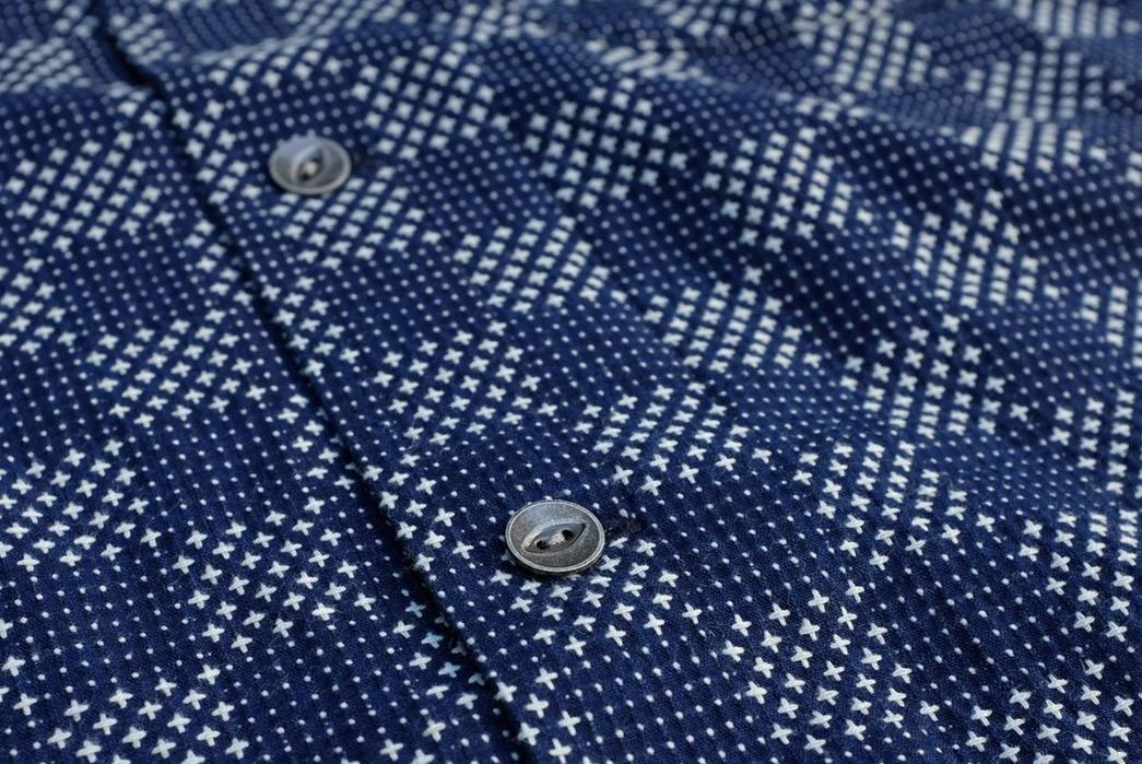 Samurai-Checks-Into-Spring-With-a-Sashiko-Aloha-Shirt-front-buttons-2