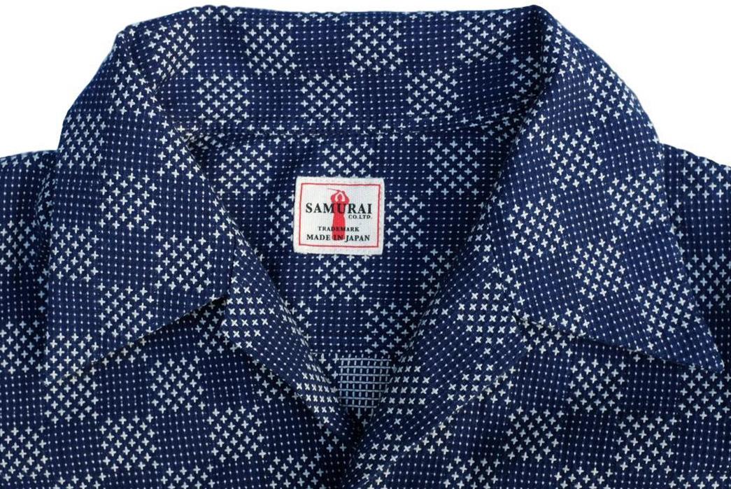 Samurai-Checks-Into-Spring-With-a-Sashiko-Aloha-Shirt-front-collar