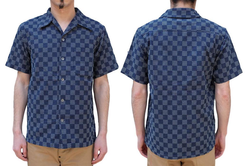Samurai-Checks-Into-Spring-With-a-Sashiko-Aloha-Shirt-model-front-back