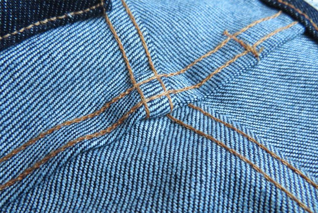 Tellason-Stock-Denim-Jeans---Denim-Review-The-inside-of-the-yoke-on-Tellason's-Stock-Denim-jeans,-detailing-the-weave