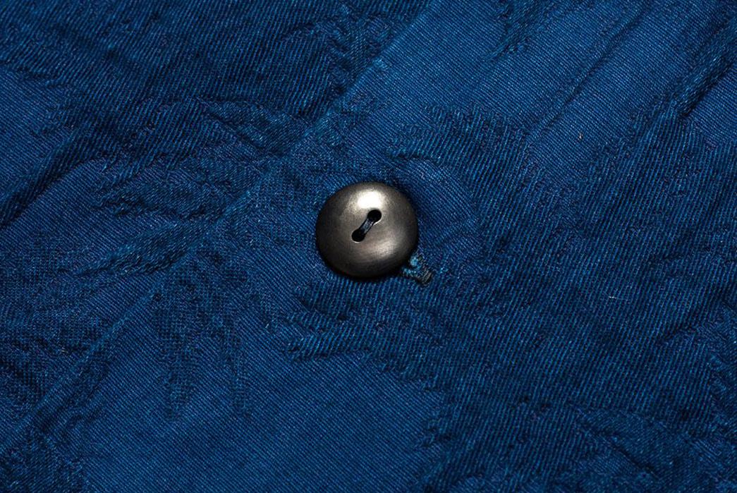 Japan-Blue-Palms-an-Indigo-Open-Collar-Shirt-button