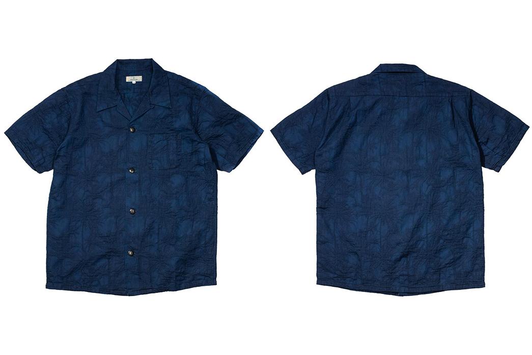 Japan-Blue-Palms-an-Indigo-Open-Collar-Shirt-front-back