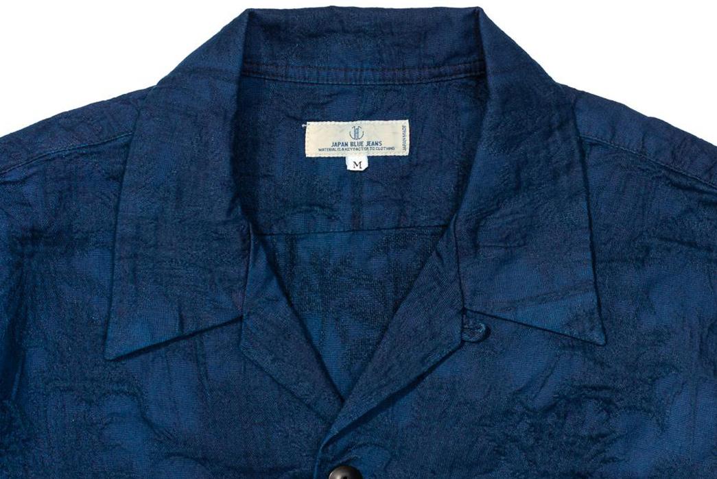 Japan-Blue-Palms-an-Indigo-Open-Collar-Shirt-front-collar
