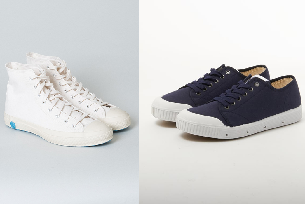 My-Experience-Of-Navigating-Quality-Menswear-As-a-Vegan-Shoes-Like-Pottery-White-High-Top,-$165-from-Lone-Flag-(left)-&Spring-Court-Classic-G2-Midnight-Blue-Canvas-Shoe,-$62-from-Stuarts-London-(right)