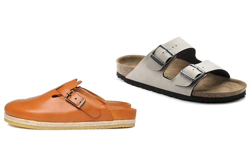 My-Experience-Of-Navigating-Quality-Menswear-As-a-Vegan-Yuketen-Bostonian-Vaqueta-(vegan)-leather,-$352-from-Yuketen-(left),-Birkenstock-Arizona-Vegan,-$99.95-from-Birkenstock