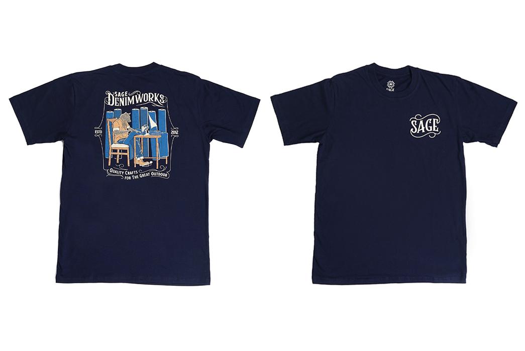 Sage-Prints-a-Quintet-Of-Graphic-T-Shirts-fronts-blue-denim