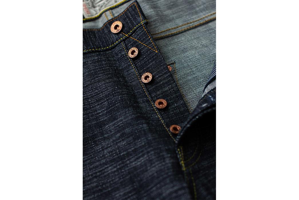 Selvedge-Slub-Jeans---Five-Plus-One-4)-The-Oldblue-Company-Over-Slub-Selvedge-front-top-buttons