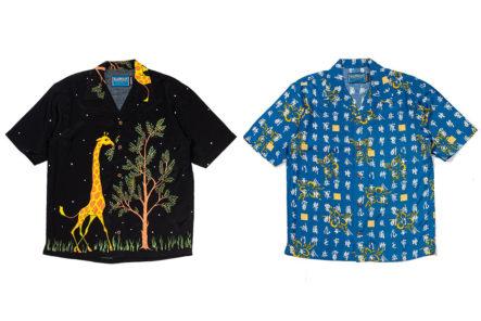Do-The-Truffle-Shuffle-In-These-Pherrow's-x-Head-Goonie-Hawaiian-Shirts-fronts-black-and-blue