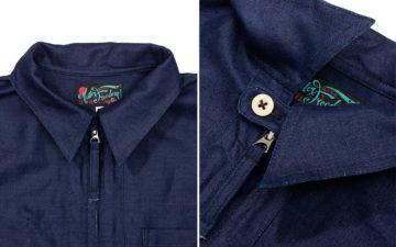 Flex-On-The-Docks-In-Mister-Feeedom's-Herringbone-Longshoreman-Shirt-collar
