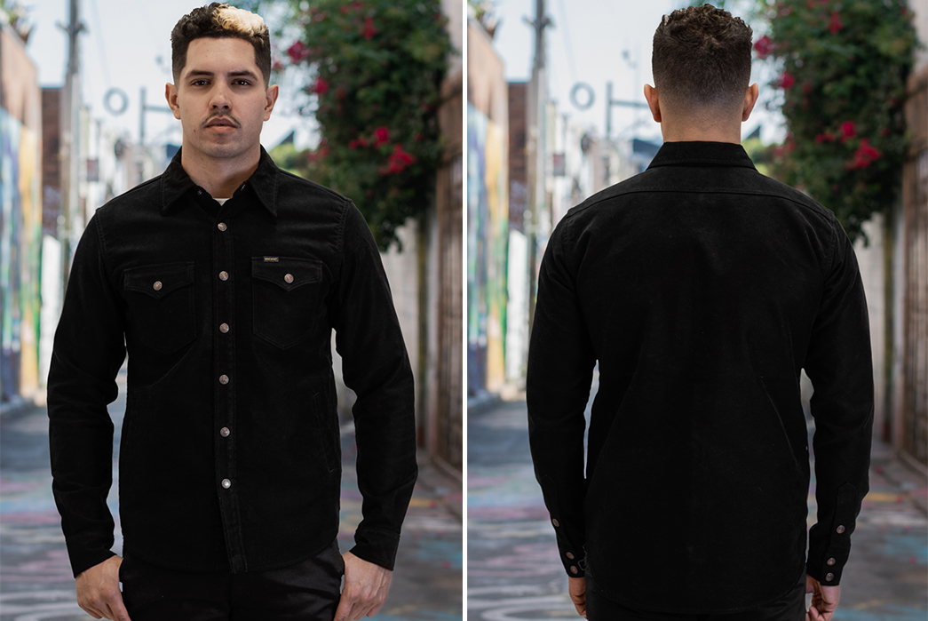 Iron-Heart-Serves-Up-a-Black-Moleskin-CPO-Exclusive-to-Self-Edge-model-front-back